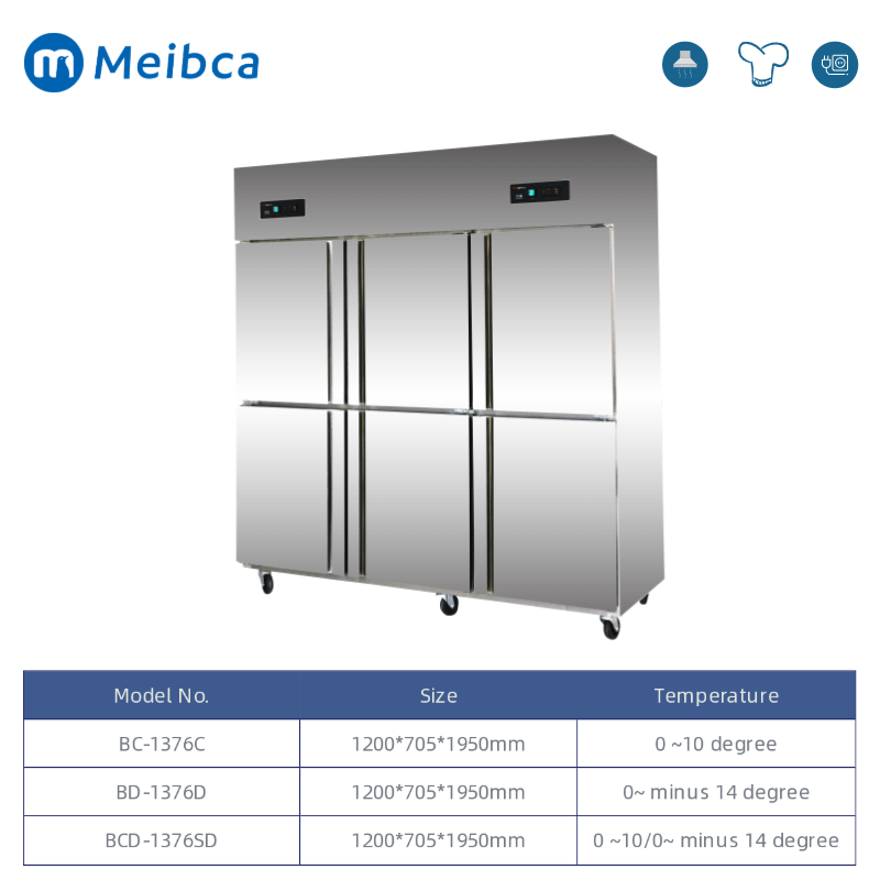 6 Pintu Stainless Steel Half Chiller Half Freezer